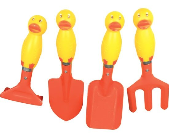 Junior garden tool set duck planet natural for Gardening tools toddlers