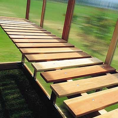 Wooden greenhouse bench redwood planet natural for Inexpensive greenhouse shelving wood